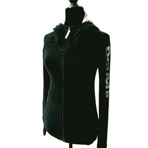 BENCH Jersey Hoodie | Black Soft Knit Zippered Top